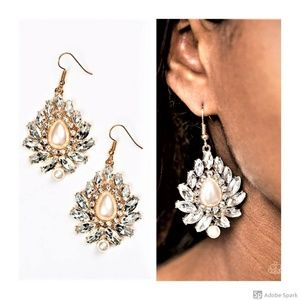 Trophy Trove - Gold & Clear Faceted BLING Earrings